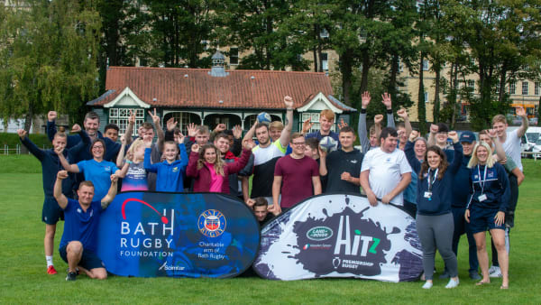 Bath Rugby Foundation staff with the 2019/20 Bath Rugby HITZ group